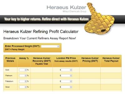 Heraeus Offers Online Scrap Refining Calculator