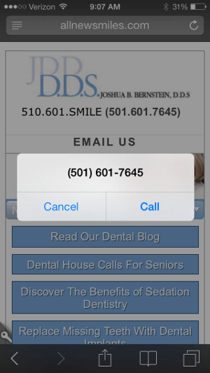 A responsive mobile dental practice website with click-to-call