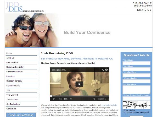 Desktop version of a dental practice website