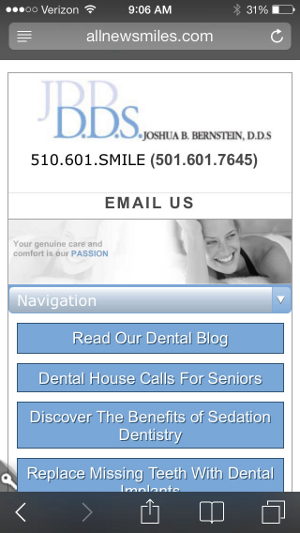Responsive website deisgn viewed on a mobile device