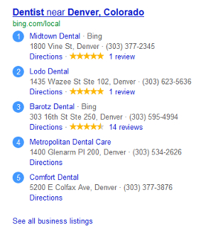 Bing Local business reviews